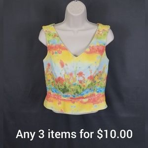 Colorful side zip blouse size 8